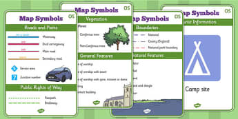 Map Symbols Display Posters OS - map symbols, map, streets, display, poster, sign, roads, motorway, vegetation, railway, general features, boundaries, OS