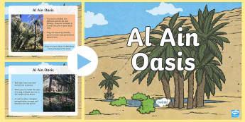 Al Ain Oasis PowerPoint - UAE, ADEC, MOE, emirates, information, non fiction, science, oasis, al ain, irrigation, water, dates