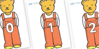 Numbers 0-50 on Bears (Whatever Next) to Support Teaching on Whatever Next! - 0-50, foundation stage numeracy, Number recognition, Number flashcards, counting, number frieze, Display numbers, number posters