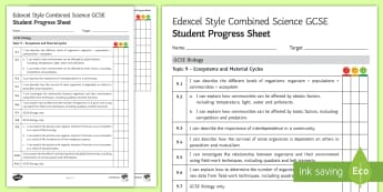 Edexcel Style Ecosystems and Material Cycles Student Progress Sheet - edexcel, exams, exam preparation, Organisation, organism, population, community, ecosystem, abiotic,