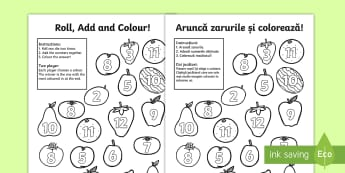 Fruit Roll and Colour Three Dice Addition Activity English/Romanian - Fruit Roll and Colour Three Dice Addition Activity - fruit, roll, colour, +, EAL