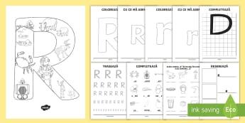 Consolidarea literei R Broșură  - alfabetul, alfabetar, litere, sunete, grafisme,Romanian