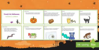 Fracții de Halloween Cartonașe cu provocări - Halloween, octombrie, matematică, fracții, clasa III-a, clasa a II-a,Romanian