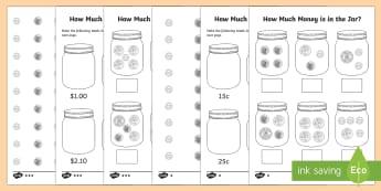 How Much Money is in My Money Jar? Activity Sheet - money, financial mathematics, australian currency, F-2, Kindy maths, kindergarten, year 1,Australia