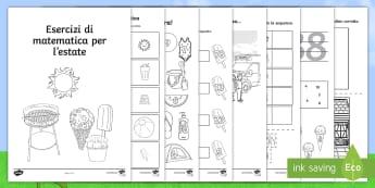 Esercizi di matematica per l'estate Attività - esercizi, matematica, lbro, esercizi, sequenza, addizioni, sottrazioni, maggiore, minore, vacanza, e