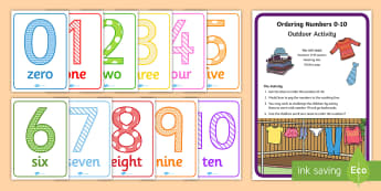 Ordering numbers 0 to 10 Outdoor Activity Pack - Mathematics, Numeracy, foundation stage, P.B.L, Play based Learning