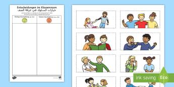 Deutsch-Arabisches Entscheidungen im Klassenzimmer Arbeitsblatt - Arabisch, deutsch lernen, verhaltenskontrolle, gutes verhalten, schlechtes verhalten, klassenzimmer,