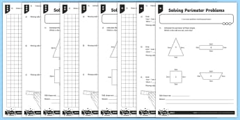 Solving Perimeter Problems Differentiated Activity Sheets - measurement, area and perimeter, perimeter