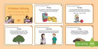 Week 16 - Version 2 - Problem Solving - Challenge Cards - Word Problems, Addition, Subtraction, Challenge, Solving, RUDE,Irish