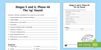 Northern Ireland Linguistic Phonics Stage 5 and 6, Phase 4b, 'oy' Sound Word Work Activity Sheet - NI, Linguistic Phonics, Stage 5, Stage 6, Phase 4b, Northern Ireland, 'oy' sound, word work, ana