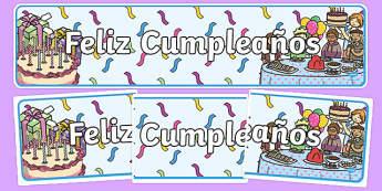 Feliz Cumpleaños - spanish, Display banner, birthday, birthday poster, birthday display, months of the year, cake, balloons, happy birthday