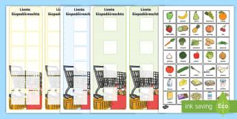 Cártaí: Liostaí Siopadóireachta agus Cártaí Bia - Shopping Lists and Food Cards, liostaí siopadóireachta, cártaí bia, liosta siopadóireachta, sho