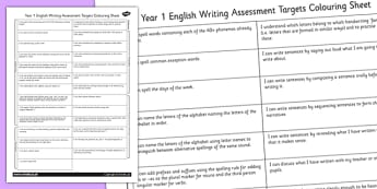 2014 Curriculum Year 1 English Writing Assessment Targets Colour