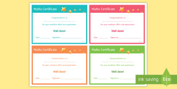 Maths 'Excellent Effort and Application' Certificate - Rewards, Learning, positive, praise, award, certificate, recognition