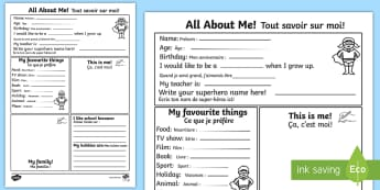 All About Me Activity Sheet English/French - All About Me Worksheet - all about me, worksheet, self registration, ourselves, ourselves worksheet,