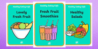 Healthy Eating Cafe Role Play Posters - healthy eating caf