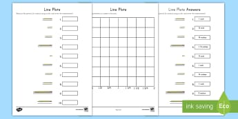 Measuring Pencils Line Plot Activity - measurement, data, line plot, graphing, fractions, number line