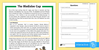 3-4 Bledisloe Cup Differentiated Comprehension Go Respond  Activity Sheets - bledisloe Cup, rugby, union, reading, comprehension, go respond, wallabies, all blacks,Australia