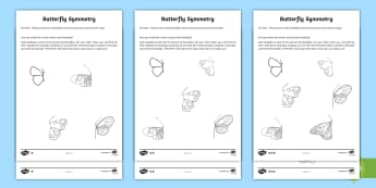 CfE First Level Match the Symmetrical Butterfly Differentiated Activity Sheets - symmetry, cfe, maths, minibeasts, matching actvity, activity sheets, first level, shape, ,Scottish