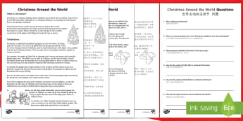 Christmas Around the World Differentiated Reading Comprehension Activity English/Mandarin Chinese - Christmas Around the World Differentiated Reading Comprehension Activity - christmas, sheet, compreh