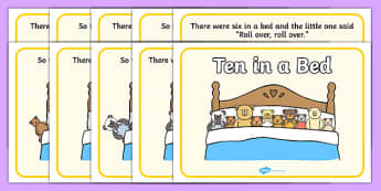 10 in a Bed Sequencing - 10 in a Bed, 10 in a bed, nursery rhyme, rhyme, rhyming, nursery rhyme story, nursery rhymes, counting rhymes, counting backwards, subtraction, one less than, Three in a Bed resources