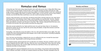 Romulus and Remus Story Print Out - romans, roman, history, story