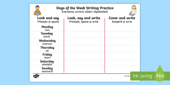 Days of the Week Writing Practice Activity Sheet Romanian/English - practice, writing, days of the wek, days pf the week, days ofthe week, EAL, romanian,