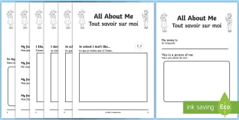 ALl About Me Booklet English/French - All About Me Book - me, myself, ourselves, people, new term, sen, ourselves, all about me, EAL Frenc