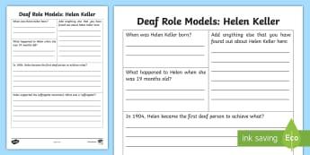 Deaf Role Models Helen Keller Research Activity - Deaf, Identity, culture, community, British Sign Language, BSL, hearing impaired, ICT, worksheet