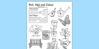 Garden Colour and Roll Worksheet Arabic Translation - arabic, garden, colour, roll, worksheet, outside, back garden