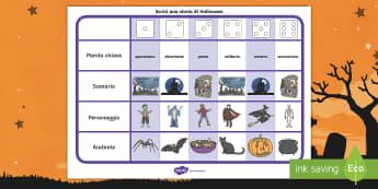 Crea una storia di Halloween Attività - scrivere, scrittura, italiano, storia, favola, immaginazione, crativo, materiale, scolastico, italia