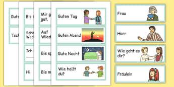 Greetings Flashcards German - german, greetings, flashcards, flash cards