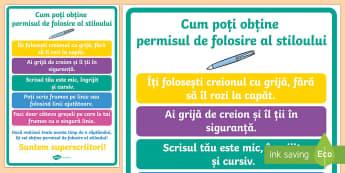 Cum să ți câștigi permisul pentru stilou Planșă - comportament, folosirea creionului, dezvoltare personală, română, motricitate fină,Romanian