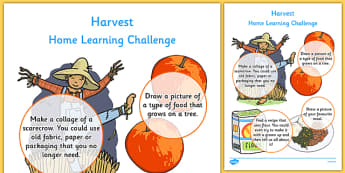 Harvest Home Learning Challenge Sheet Nursery FS1 - homework, early years, activity, topic