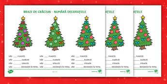 Brazi de Crăciun - Fișă de numerație - crăciun, numere, numerație, matematică, fișe, sărbători, română, materiale, Romanian