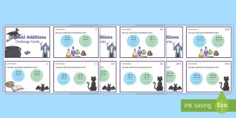 Decimals Additions Match Challenge Cards Magic Theme - money, adding, decimal, maths, mathematics