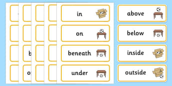Positional Language Word Cards - Postion, Positional, Positional Language, Position Words, up, down, inside, outside, next to, North, South, East, West