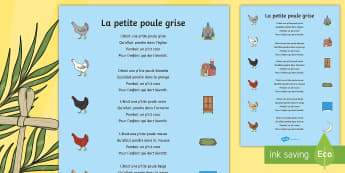 Comptine : La petite poule grise Poster format A4 - comptine, poule, chicken, nursery-rhyme, cycle 1, prairie, champs, ferme, oeufs, easter, Pâques, ch