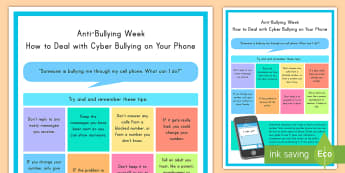 How to Deal with Cyber Bullying on Your Phone - cyber bullying, phone, cell phone, bullying, poster
