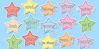 Conjunctions on Stars Pastel Colours - conjunctions, Connectives