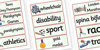 Tanni Grey Thompson Word Cards - tanni grey thompson, word cards
