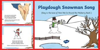 Playdough Snowman Song PowerPoint - EYFS, Early Years, Christmas, winter, Playdough Play,Dough Disco, finger gym, fine motor skills, Phy