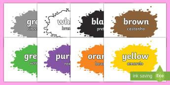 Colour Names on Splats English/Portuguese - Colour Names On Splats - colour, colour names , black, white, red, green, blue, yellow, orange, colo