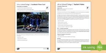 Life at School/College 1 Foundation Tier Photo Card Activity - Spanish, speaking, practice, oral, photo, card, picture, illustration, practice, revision, skills, f