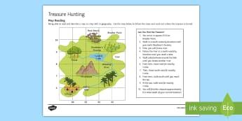 Treasure Hunt Activity Sheet - map, read, skill, geography