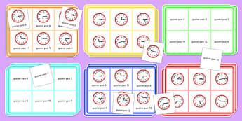 Quarter Past Time Bingo - Time bingo, time game, Time resource, Time vocaulary, clock face, Oclock, half past, quarter past, quarter to, shapes spaces measures