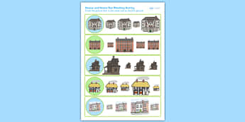 Houses and Homes Size Matching Worksheets - house, home, match