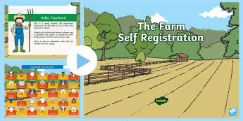 The Farm Self Registration PowerPoint - farm, farmyard,animals, self-registration, powerpoint,superheor, present, school, morning activity,