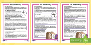 Ash Wednesday Differentiated Fact File - Ash Wednesday, Easter, Lent, temptations, give up, religious celebrations, religion, religious belie