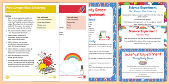 EYFS The Elves and the Shoemaker Science Experiments Resource Pack - The Elves and the Shoemaker, traditional tales, Christmas, candy cane, shoe, fizz, wax crayon, rainb